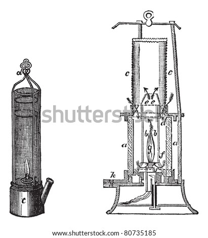 Fig 1.Davy safety lamp Fig 2. Safety lamp of Mackworth vintage engraving. Old engraved illustration of old-fashioned davy safety lamp and mackworth safety lamp.  Trousset encyclopedia (1886 - 1891) - stock vector