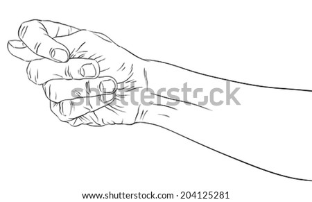 Fig fico hand sign, detailed black and white lines vector illustration, hand drawn.