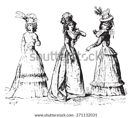 Fig No-564 Dress with Circassian damn shirt, Fig No-565 Full dress in the English dress, Fig No-566 Undresses camisole, vintage engraved illustration. Industrial encyclopedia E.-O. Lami - 1875.  - stock vector