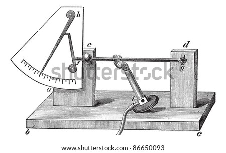 Fig. 1. - Old pyrometer with lever by Musschenbroek, vintage engraved illustration. Lever Pyrometer isolated on white background. Trousset encyclopedia (1886 - 1891). - stock vector