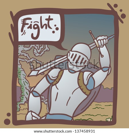 Fight army comic - stock vector