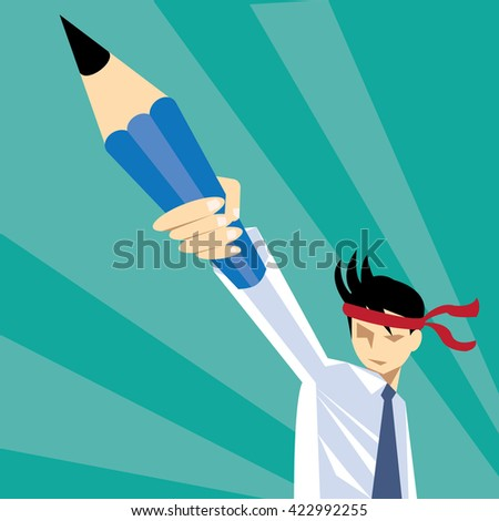 Fight concept.Young man holding pencil ready for solving problems-vector - stock vector