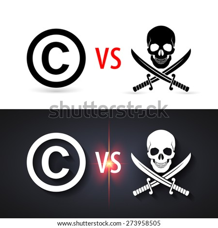 Fight copyright piracy. Protection sign, authorship business - stock vector