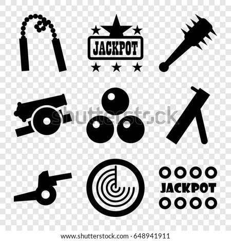 Fight icons set. set of 9 fight filled icons such as radar, jackpot, mace, cannon, canon ball
