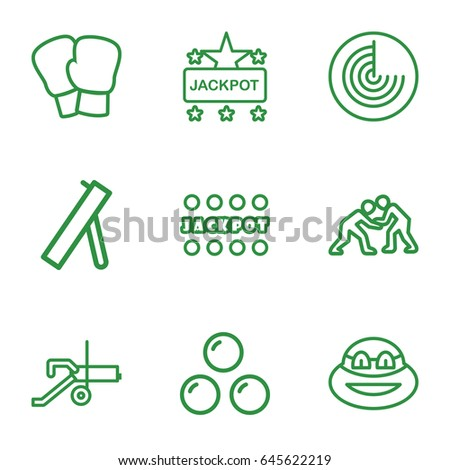 Fight icons set. set of 9 fight outline icons such as radar, jackpot, canon ball, cannon, judo, ninja