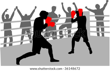 fight in the ring - stock vector