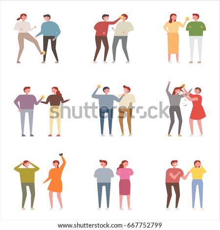 fight people character vector illustration flat design