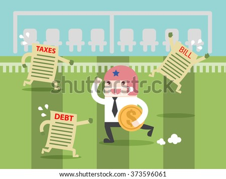Fight TAX and DEBT like Super Bowl. Flat design for business financial marketing banking advertisement office people life property stock fund in minimal concept cartoon illustration. - stock vector