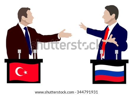 Fight the two speakers at the podium. The debate between the speakers. Rhetoric, negotiations and disputes between the parties. Flag of Russia, Turkey. Vector. Icon. Illustration. Vector. Icon. - stock vector