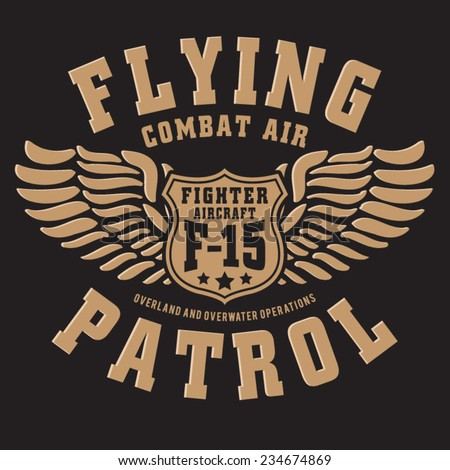 Fighter aircraft typography, t-shirt graphics, vectors - stock vector
