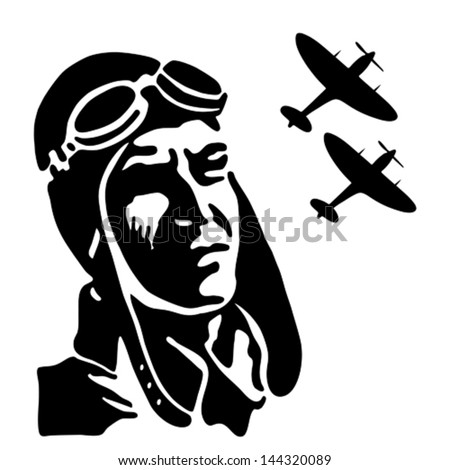 Fighter pilot watching his squadron on the sky. Vintage vector illustration. - stock vector