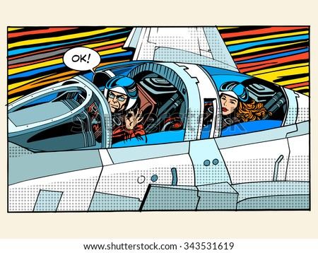 fighter plane pilot man woman success aviation pop art retro style. The pilot testers. Sport aircraft. Military aircraft. Business concept success and height - stock vector