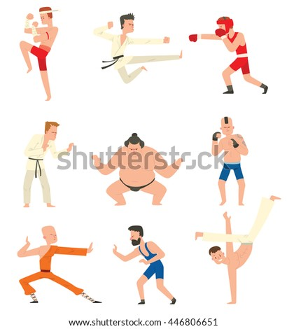 Fighters people muay thai boxing karate taekwondo wrestling kick punch grab throw people icon. Athlete training martial boxing fighters people symbol characters. Fighters people strong gym kick body. - stock vector