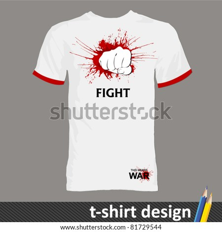 fighting and boxing t-shirt design - stock vector