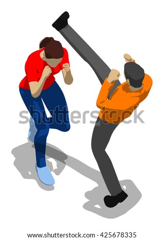Fighting between man and woman. Young athletic woman defending herself. 3d flat isometric. - stock vector