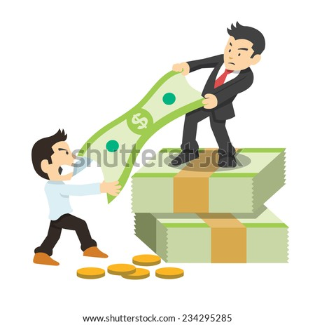 Fighting for money. Vector flat illustration - stock vector