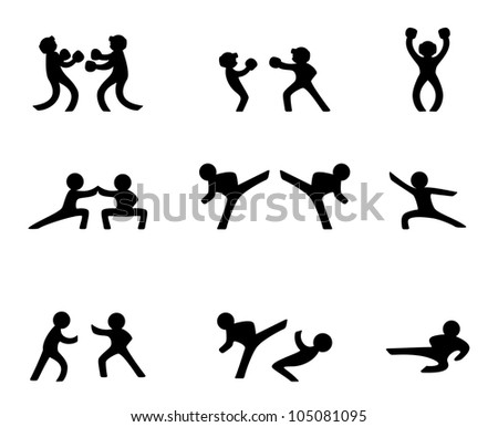 Fighting sports - stock vector
