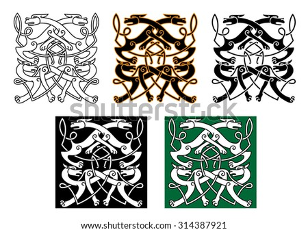 Fighting wolves celtic patterns with mythical animals and decorative knot elements for tattoo or medieval themes design - stock vector