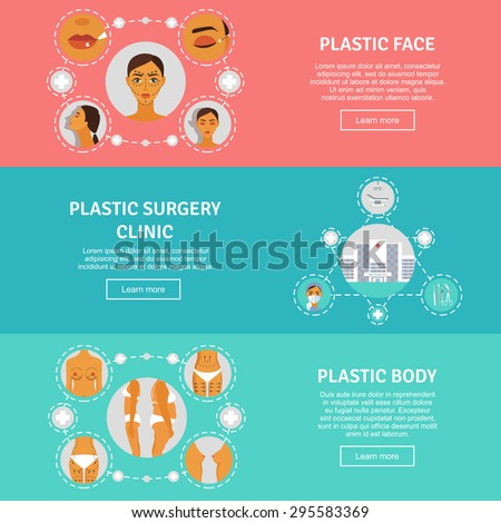 Figure correction body lift and contouring plastic surgery clinic flat horizontal banners set abstract isolated vector illustration - stock vector