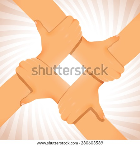 Figure from four united hands; Cooperation and teamwork in business; Eps8 - stock vector