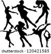 Figure ice skating vector silhouettes. Layered. Fully editable. - stock vector