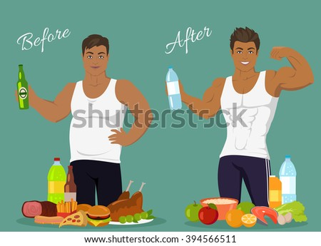 Figure of a man before and after weight loss, figure boy before and after, diet body man before and after vector illustration. Fat man in front of fast food. Man with sports figure near healthy food - stock vector