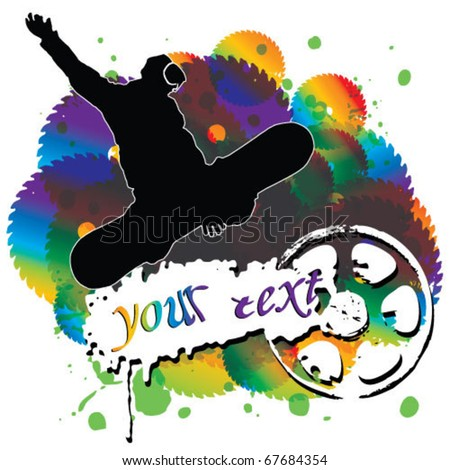 figure of a young man snowboarding with drops  on a colorful background. Vector illustration. - stock vector