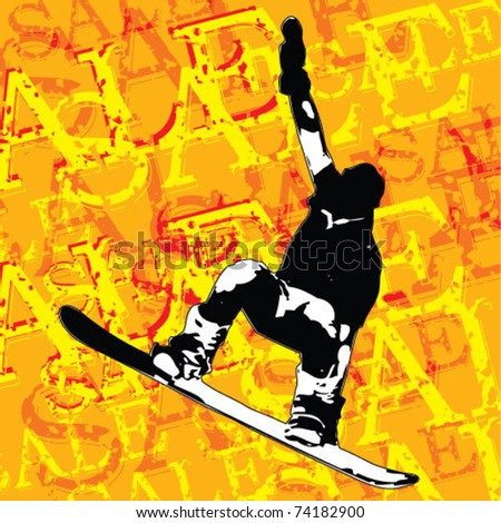 "figure of a young man snowboarding with drops on a colorful ""sale"" background. Vector illustration. - stock vector"