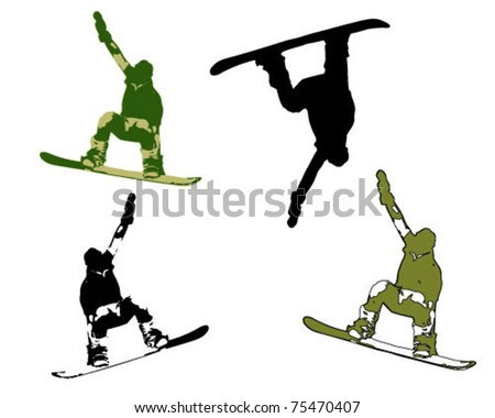 figure of a young man snowboarding with drops. Vector illustration. - stock vector