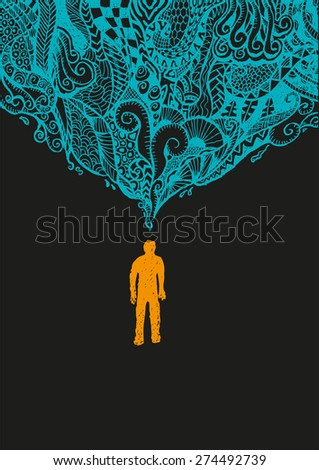 Figure of Man Standing with Abstract Pattern Zentangle Art over his head. Reversed colored version. - stock vector