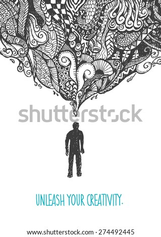 Figure of Man Standing with Zentangle Art over his head. Unleash Your Creativity editable sample text. EPS10 vector. - stock vector