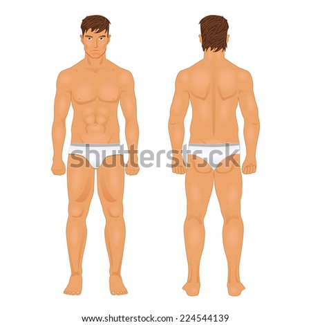Figure of the standing man in front and behind - stock vector