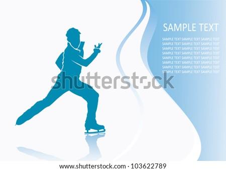 Figure skater - vector background - stock vector