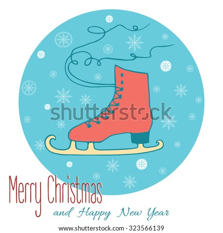 Figure Skating design element for card.  Vector poster with figure skates. Hand drawn decorative illustration with winter sport concept on blue with text below for Xmas and New Year