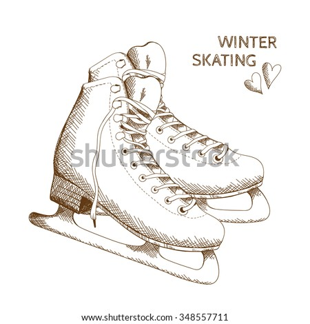 Figure Skating design element. Vector poster with figure skates isolated on the white background. Hand drawn vector illustration.