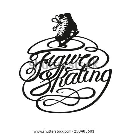 Figure skating vintage lettering - stock vector