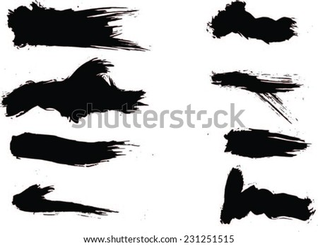 Figured brush strokes brush and ink - stock vector