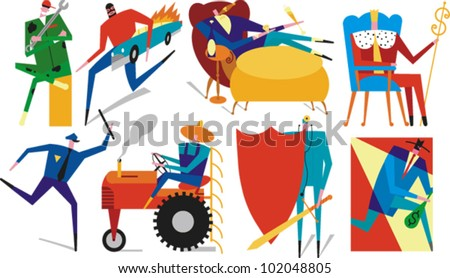 Figures engaged in various activities - stock vector