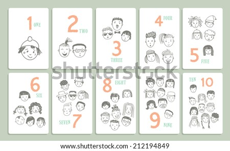 Figures. Learn to count. Cartoon hand drawn set with different funny faces. Isolated. Vector. - stock vector