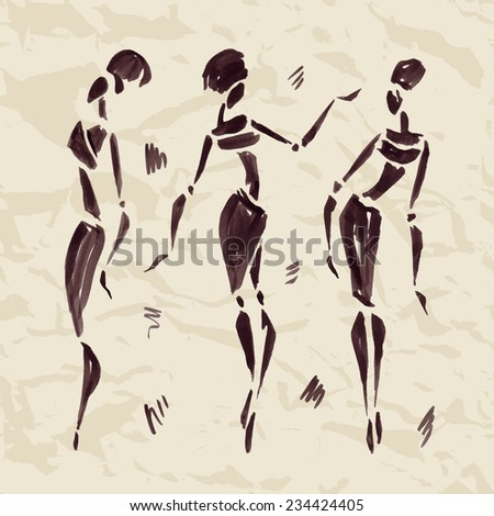 Figures of african dancers. Hand drawn Vector Illustration. - stock vector