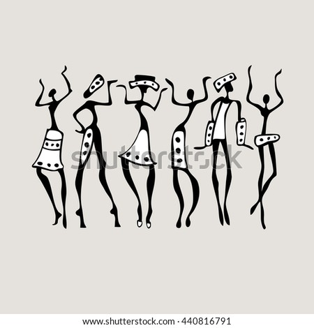 Figures of african dancers set. Dancing people in ethnic style. Vector Illustration. - stock vector
