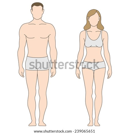 Figures of man and woman. The template for your design - stock vector