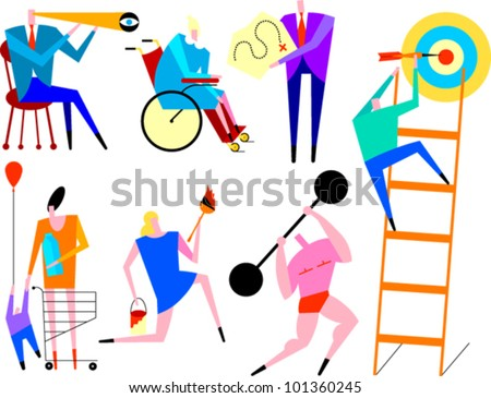 Figures performing a variety of activities - stock vector