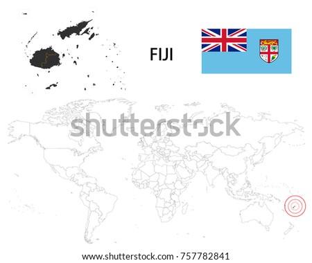 Fiji map on world map flag stock vector 757782841 shutterstock fiji map on a world map with flag on white background gumiabroncs Choice Image