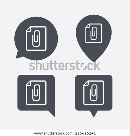 File annex icon. Paper clip symbol. Attach symbol. Map pointers information buttons. Speech bubbles with icons. Vector