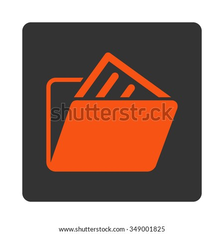 File Archive vector icon. Style is flat rounded square button, orange and gray colors, white background. - stock vector