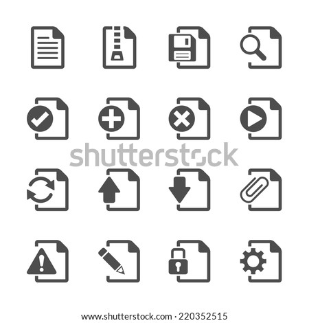 file document icon set, vector eps10. - stock vector