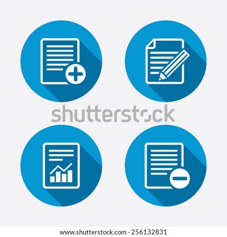 File document icons. Document with chart or graph symbol. Edit content with pencil sign. Add file. Circle concept web buttons. Vector - stock vector