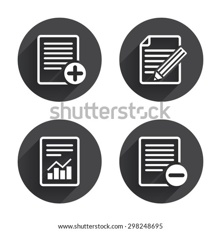File document icons. Document with chart or graph symbol. Edit content with pencil sign. Add file. Circles buttons with long flat shadow. Vector - stock vector