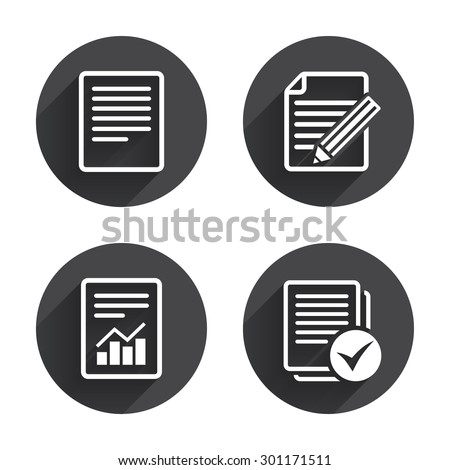 File document icons. Document with chart or graph symbol. Edit content with pencil sign. Select file with checkbox. Circles buttons with long flat shadow. Vector - stock vector